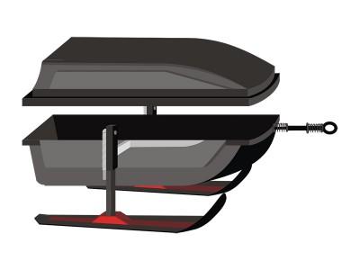 Волокуша люкс на лыжах с крышкой